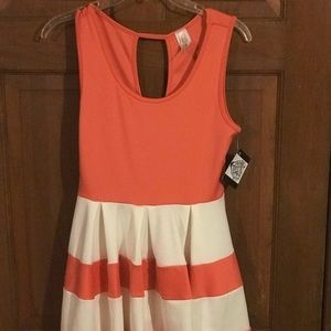 NWT, Beautiful off white & Coral has pleated,